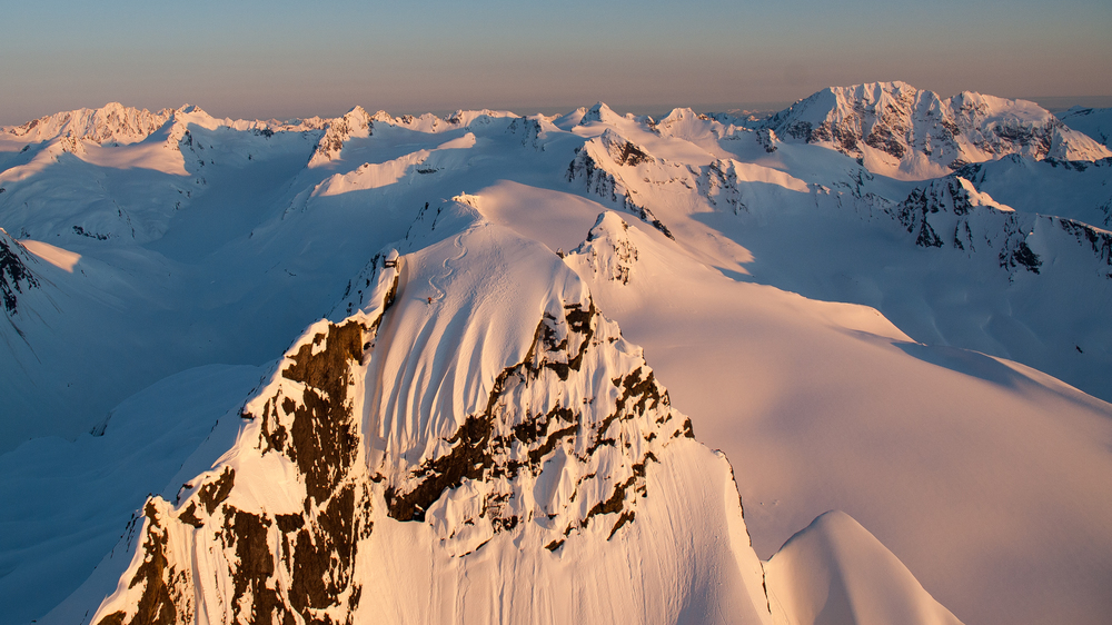 Dean Cummings' first descent of Mount Francis in Valdez, Alaska, from the summit proper - photo by Eric Layton