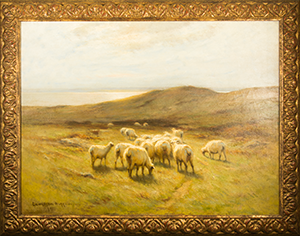 By Carleton Wiggins (1848-1932)   Wiggins was an American landscape and cattle painter from New York.  His paintings hang in numerous museums including The Brooklyn Museum, the Art Institute (Chicago) and the Metropolitan Museum in New York. (Ray Lent Collection)  Sheep were a favorite of Wiggins and appeared in a number of his different landscapes.