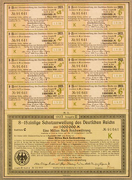 Above is a German Bond from the 1920s.  Germany during the 20s saw one of the world's worst inflationary periods.  Following World War I, the German economy totally collapsed and prices rose so rapidly that literally bushel baskets of currency were used in everyday transactions.  This 1,000,000 Mark bond sold in New York for less than $400 (US).  Just eight years before, a million Marks had a value of more than $300,000 (US).