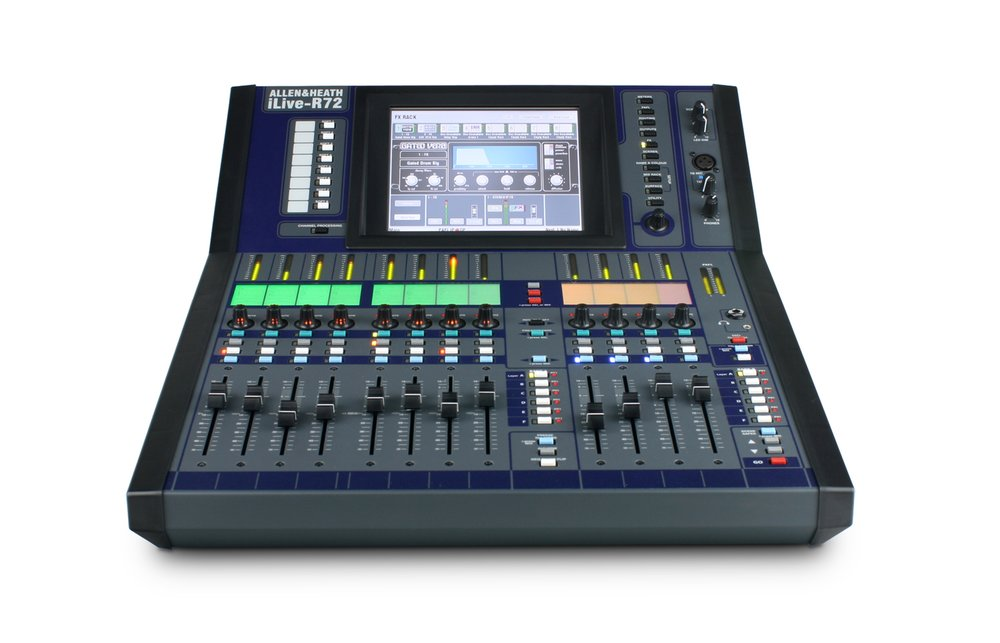 Compact Allen & Heath iLive R72 Digital Control Surface for the iLive iDR32 DSP MixEngine perfect for smaller events where space is at a premium.