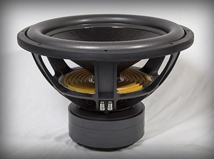 "The 68lb powerhouse inside each folded horn loudspeaker is this extremely high power handling 18"" subwoofer capable of handling peaks of 7,200 watts!"