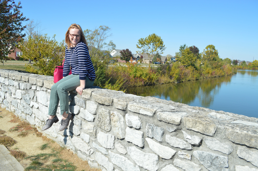 Maggie a la Mode - Louise et Cie Franny Oxford Loafer, J Crew Factory Striped Sweater, Anthropologie Pilcro Stet Ankle Jean, Kate Spade Royal Place Small Cherise