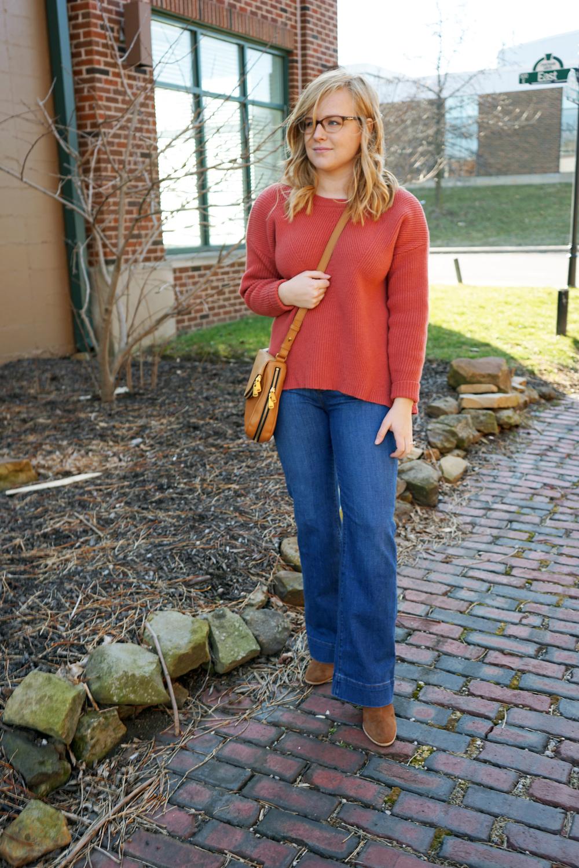 Madewell Moderne Sweater, Ann Taylor LOFT Wide leg trouser jeans, MICHAEL Michael Kors Shaw Bootie, Fossil Preston crossbody - Maggie a la Mode