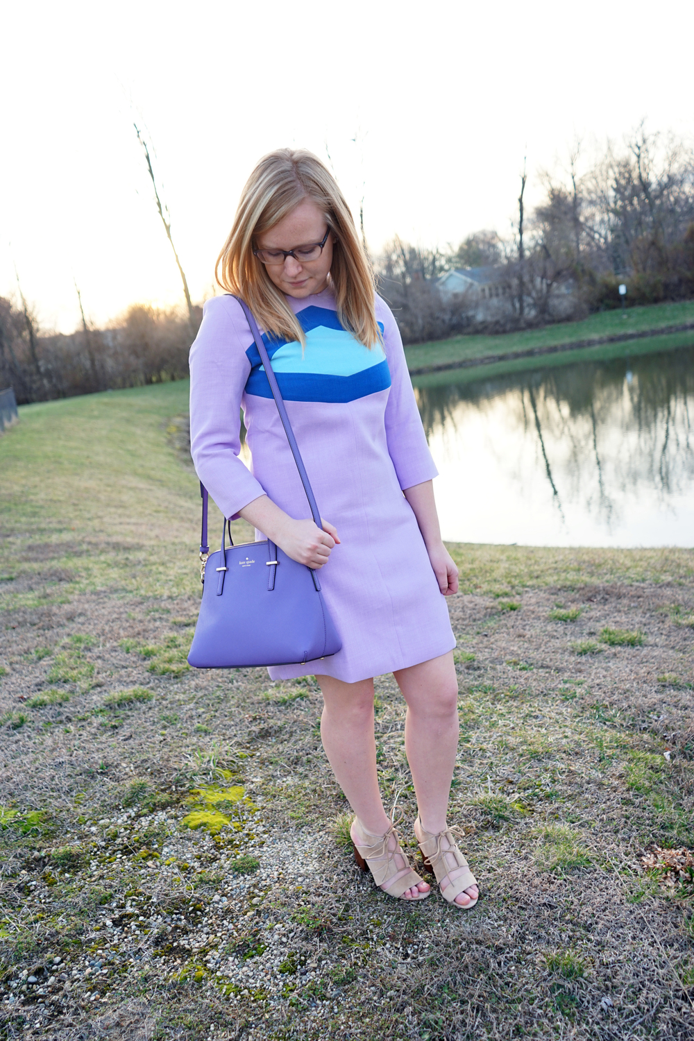 SheIn SheInside purple colorblock dress, Steve Madden Emalena sandals, Kate Spade cedar street purse - Maggie a la Mode