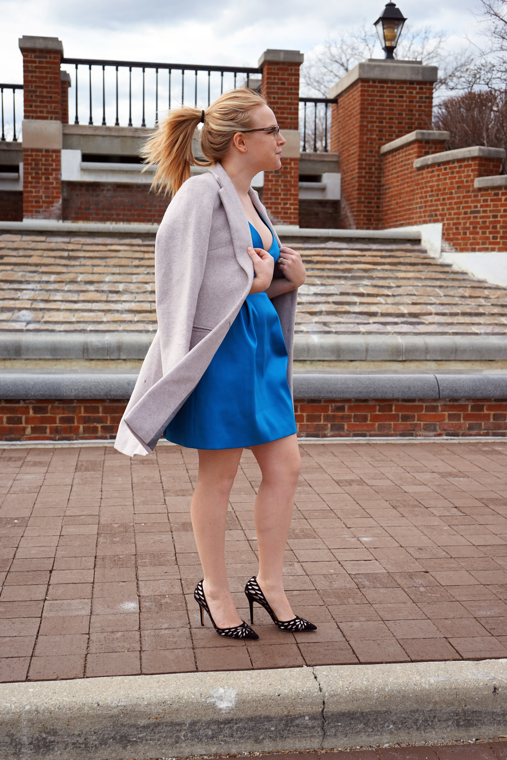 Topshop V-neck satin minidress, Helene Berman Future College Notch coat, Jimmy Choo Daysha heels, Anthropologie Florilege coat, Steve Madden Feliz sandals - Maggie a la Mode