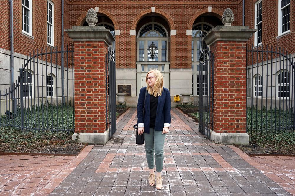 Gap perfect blazer, LOFT pointelle tunic sweater, Steve Madden Emalena, Anthropologie Pilcro stet ankle jeans, Luana Italy Paley satchel - Maggie a la Mode