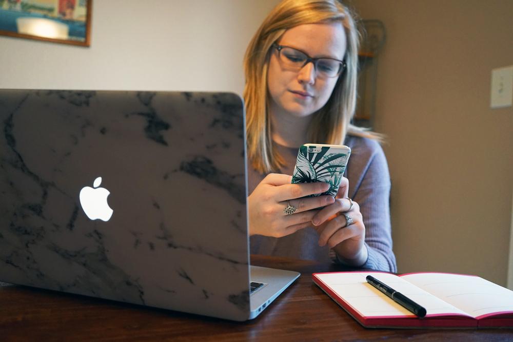 Madewell warmlight pullover sweater, Caseapp Macbook laptop skin, Caseapp iPhone phone case - Maggie a la Mode