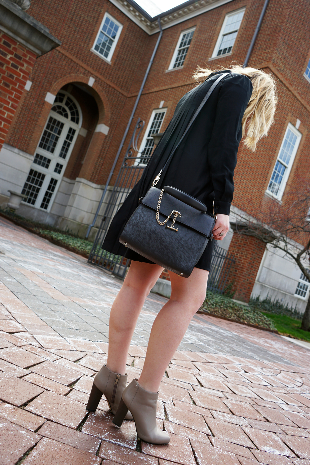 Ann Taylor Pleat Back Shirtdress, Circus by Sam Edelman Bond Booties, Luana Italy Paley Satchel - Maggie a la Mode