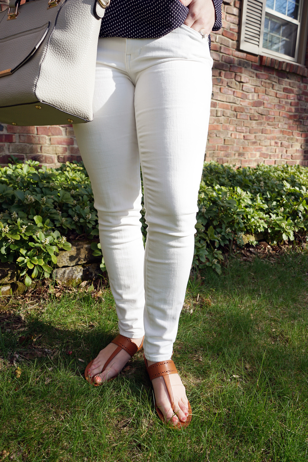 Ann Taylor Dashed Wrap blouse, Madewell skinny jeans (pure white), Cole Haan Elsie leather thong sandals, Urban Expressions Gia purse handbag - Maggie a la Mode