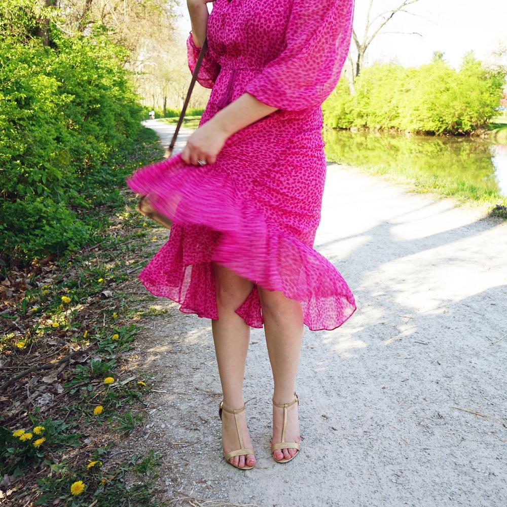 Maggie a la Mode Instagram Roundup - DVF Diane Von Furstenberg Camila printed off-shoulder silk chiffon dress, Calvin Klein Nasi Leather T-strap sandal heel
