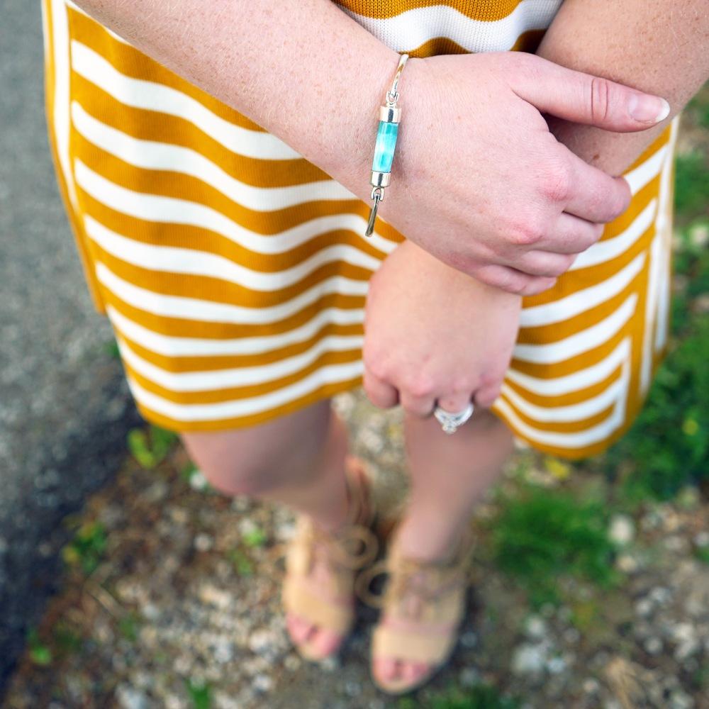 Maggie a la Mode Instagram Roundup - Larimar Laura Bonetti bracelet, Ann Taylor striped short sleeve sweater dress, Steve Madden Emalena Ghillie sandal, BaubleBar Graphic Ear Jacket set