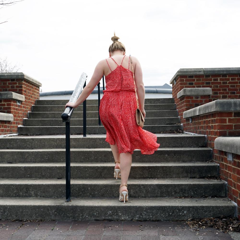 Maggie a la Mode Instagram Roundup - Leith midi swing dress red barberry dot, Nadri Round Cubic Zirconia Stud earrings, Schutz Tamiris sandals