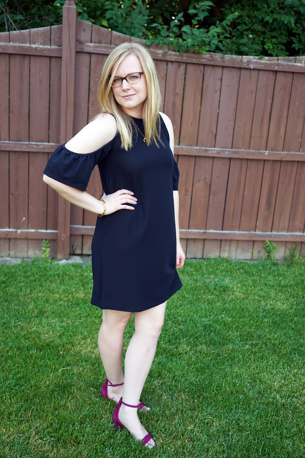 Maggie a la Mode - Zara Cold Shoulder Dress, Steve Madden Irenee Sandal