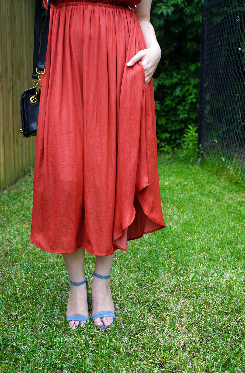 Anthropologie Dolan Left Coast Costa Midi Dress, Steve Madden Carrson Sandals Heels, J Crew crossbody purse - Maggie a la Mode