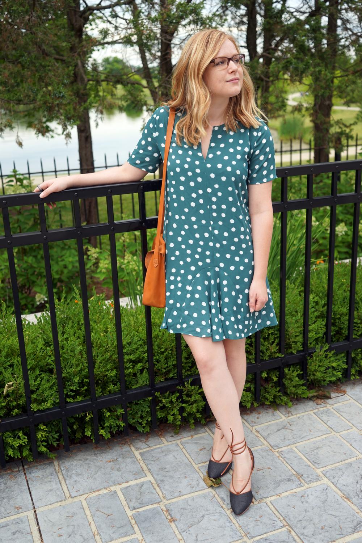 Maggie a la Mode - 1.State Short Sleeve Polka Dot Dress, Anthropologie Faryl Robin Frida Lace-up Slingbacks Wedges