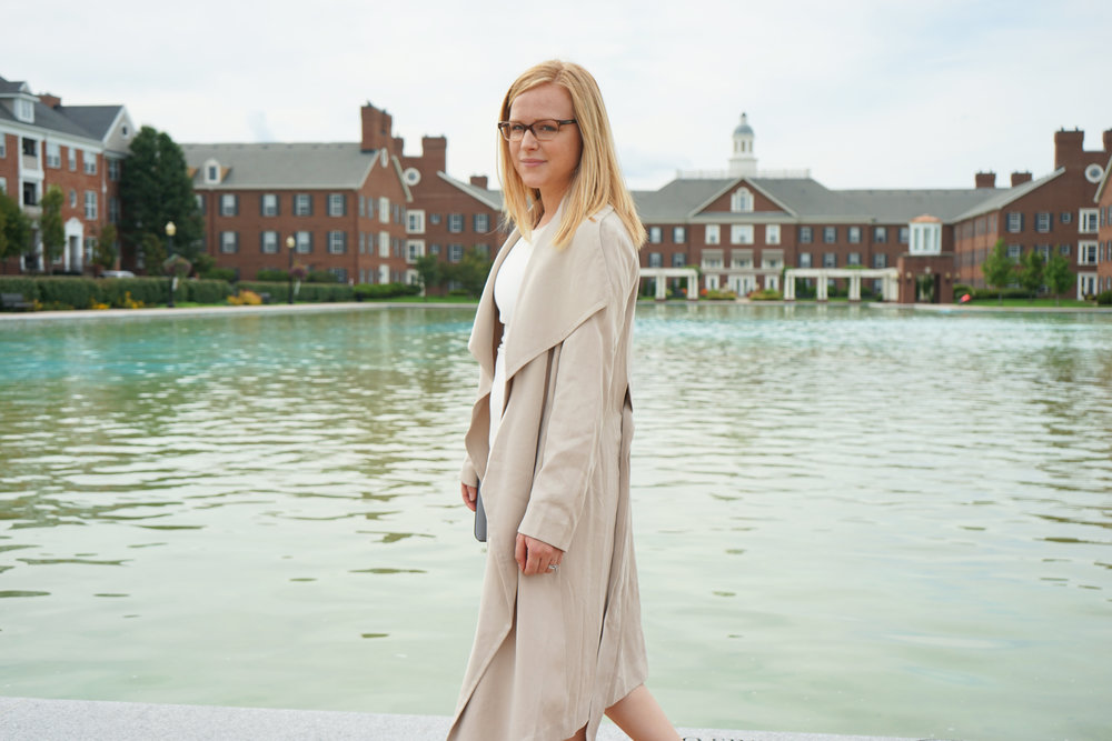 Elizabeth and James Sophia Dress, Club Monaco Martuska Soft Trench Coat, Steve Madden Stecy sandals, Kate Spade cedar street large monday crossbody - Maggie a la Mode