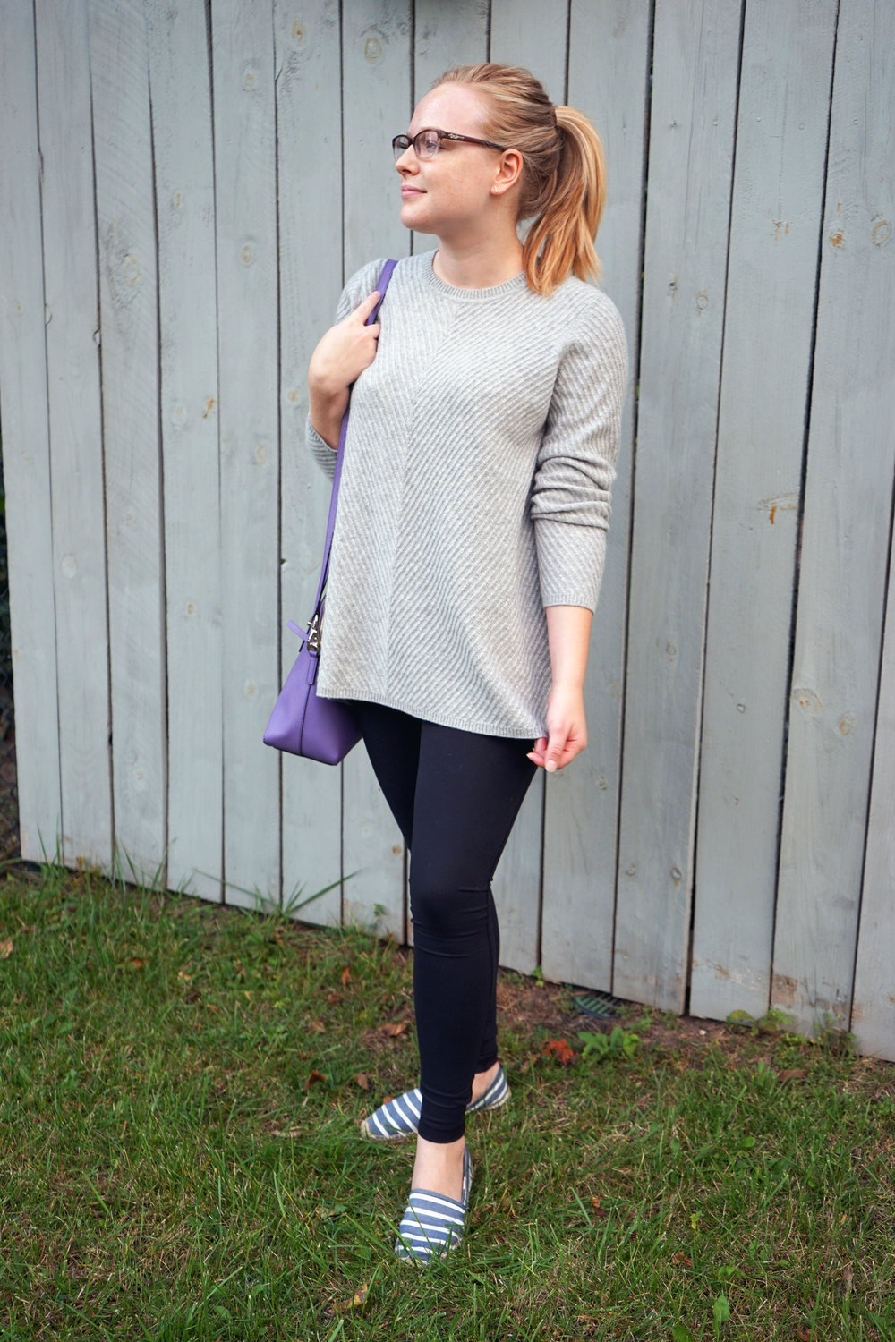 Maggie a la Mode - Nordstrom Signature Collection Chevron Cashmere Sweater, Zella Live-In High Waist Leggings, Soludos Classic Striped Espadrilles, Kate Spade Cedar Street Maise Satchel