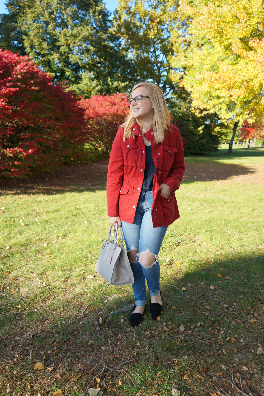 Gap classic utility jacket, Madewell whisper cotton v-neck tee, Levi's 721 High Rise distressed skinny jeans, Schutz Elise flats, Coach purse - Maggie a la Mode