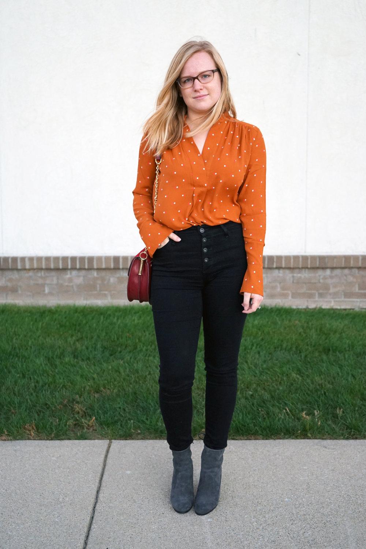 Maggie a la Mode - Pumpkin Polka Dot 5.JPG