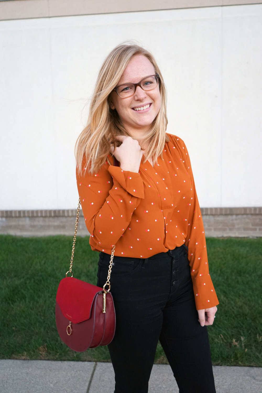 Maggie a la Mode - Pumpkin Polka Dot 2.JPG