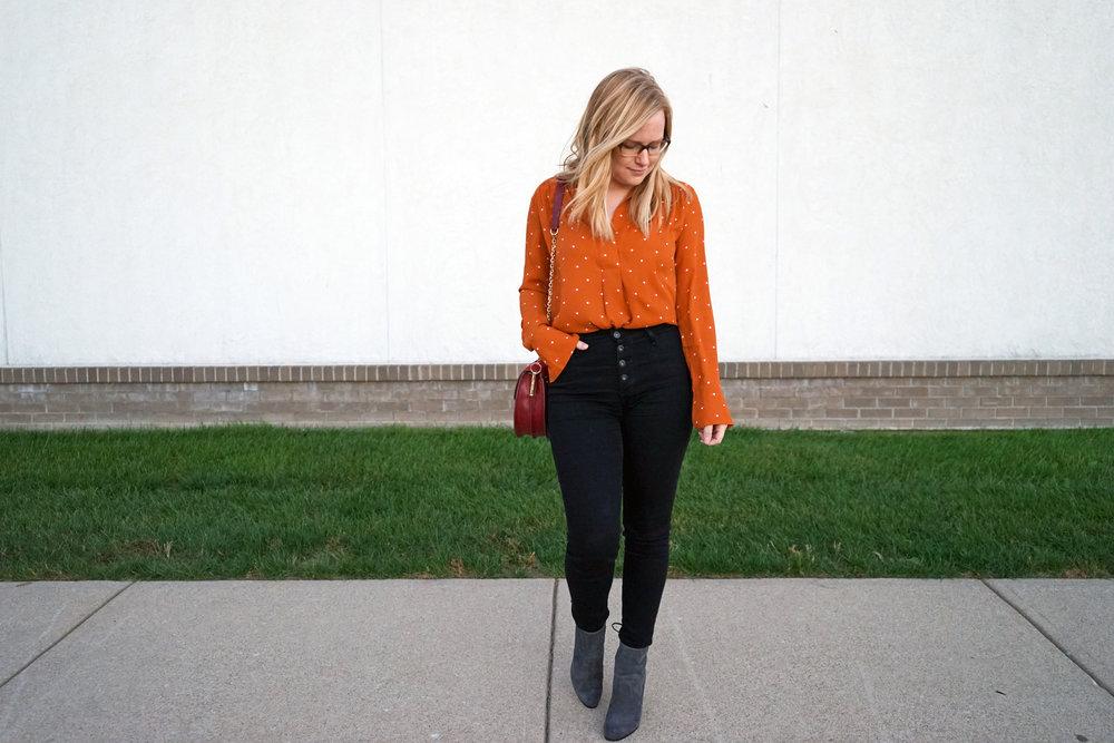 Maggie a la Mode - Pumpkin Polka Dot 3.JPG