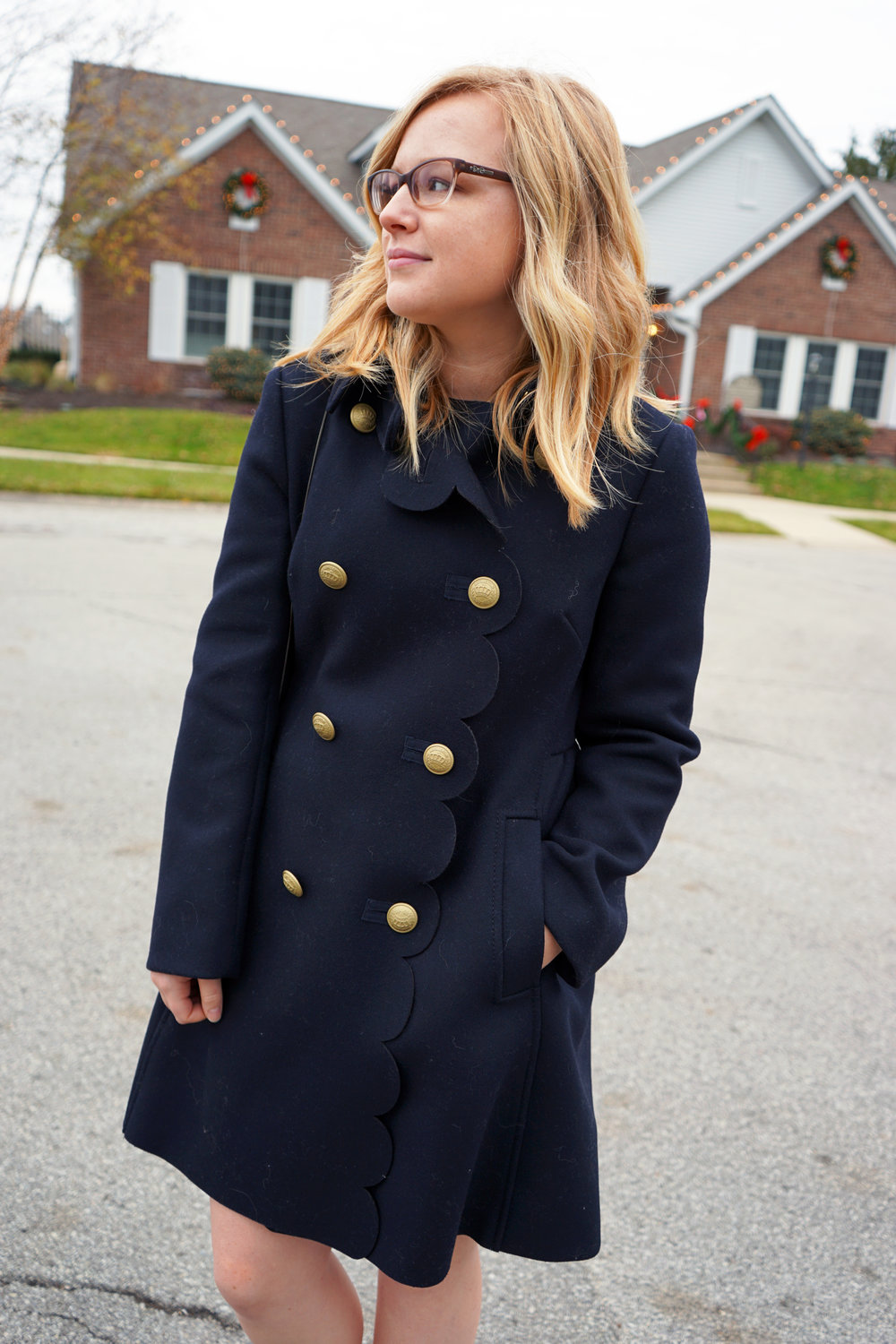 Maggie a la Mode - RED Valentino Scalloped Peacoat 2.JPG