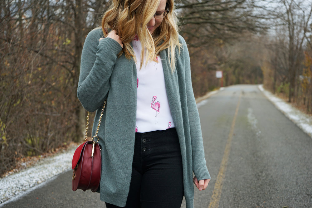 Maggie a la Mode - Equipment Lyle Tank Happy Pink Flamingos, Theory Ashtry J Cashmere Cardigan, AG Button Up Fly Jeans, Louise et Cie Jael Shoulder Bag