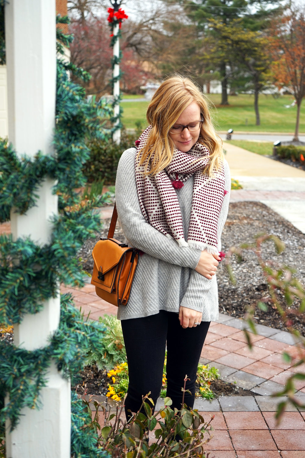 Maggie a la Mode - Madewell Diamond-Dash Tassel Scarf, Nordstrom Collection Chevron Cashmere Sweater, AG High-Waisted Skinny Jeans, Loeffler Randall Rider Bag