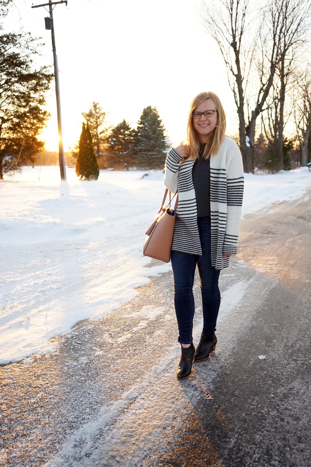 Maggie a la Mode - Gap Merino Wool Blend Gradient Stripe Shaker Cardigan, Theory Melana Modern Georgette Silk Top, Paige Transcend Verdugo Nottingham Jeans, Madewell Billie Boot, Blue Les Copains Tote