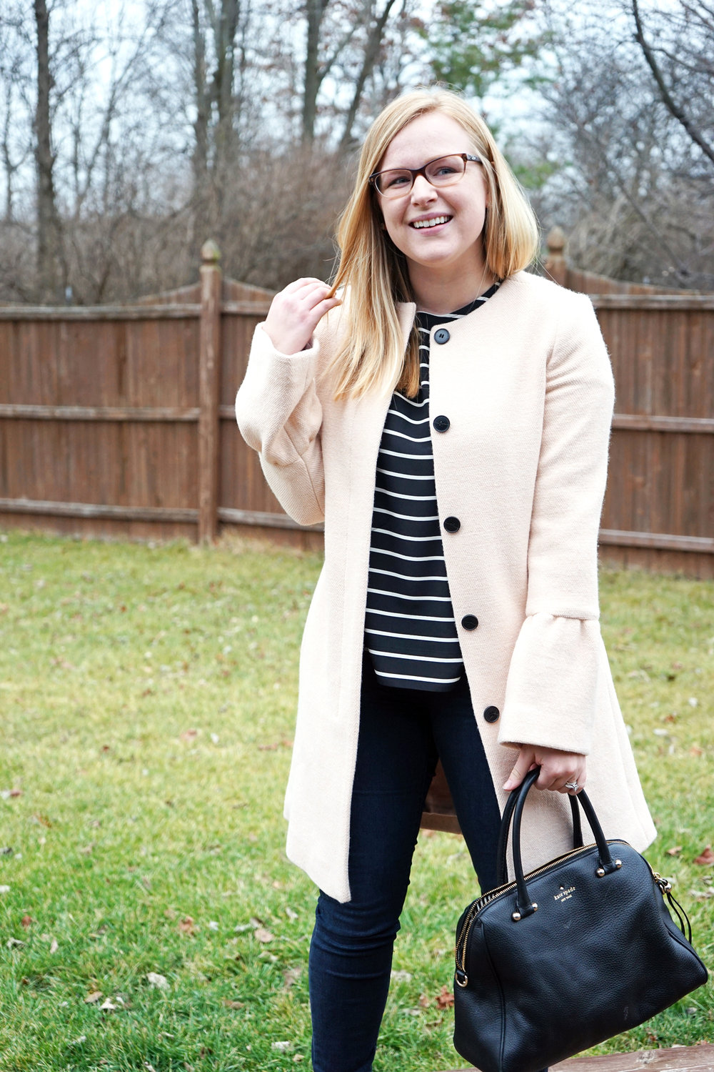 Maggie a la Mode - Club Monaco Jaydea Bell Sleeve coat, Madewell tailored tee, Steve Madden Primpy heels, Paige Verdugo Reed Jeans, Kate Spade purse