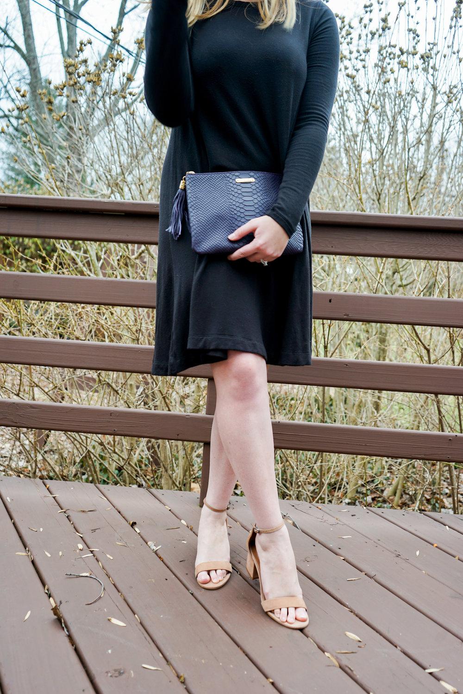 Maggie a la Mode - BaubleBar Moonrock Drops Earrings, Lou & Grey SignatureSoft Swing Dress, Steve Madden Irenee Sandals, Gigi New York All-in-One Clutch