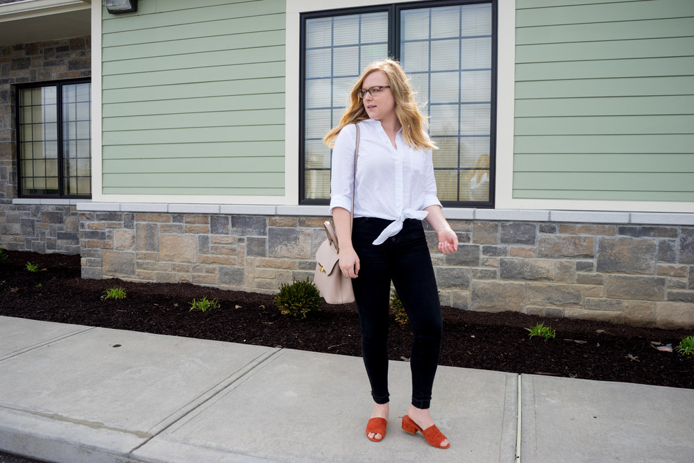 Maggie a la Mode - Vince Rachelle Slides, Madewell Tie-Front Shirt, AG Farrah Button Front Jeans, Camelia Roma Leather Handbag Cameo