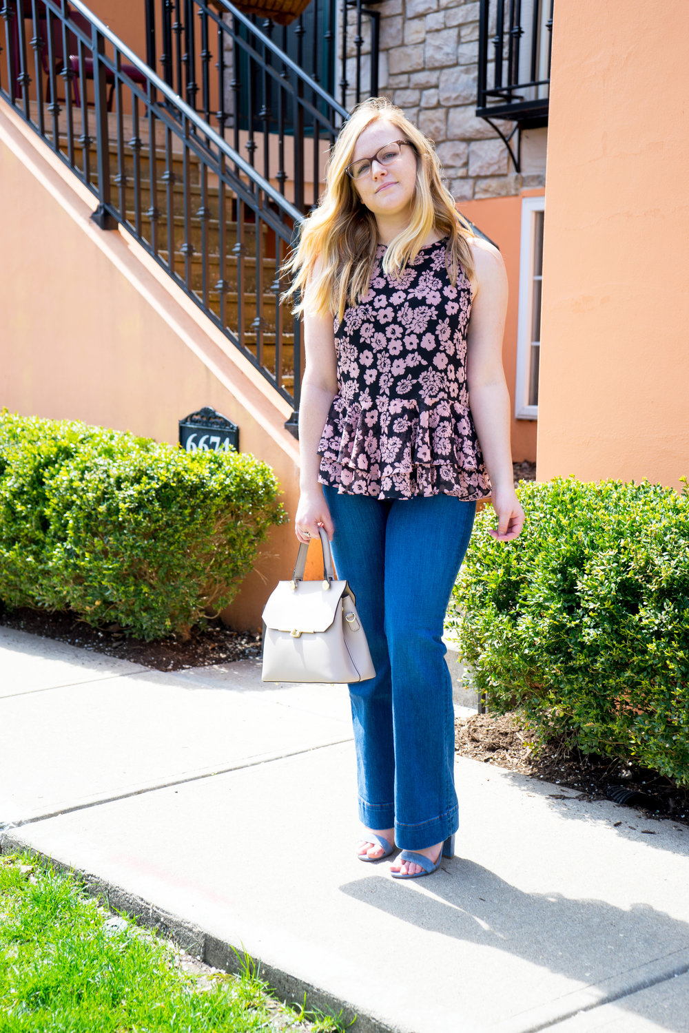 Maggie a la Mode - Milly Floral Print Flare Tank, Loft Flared Jeans, Steve Madden Carrson sandal, Camelia Roma Leather Handbag
