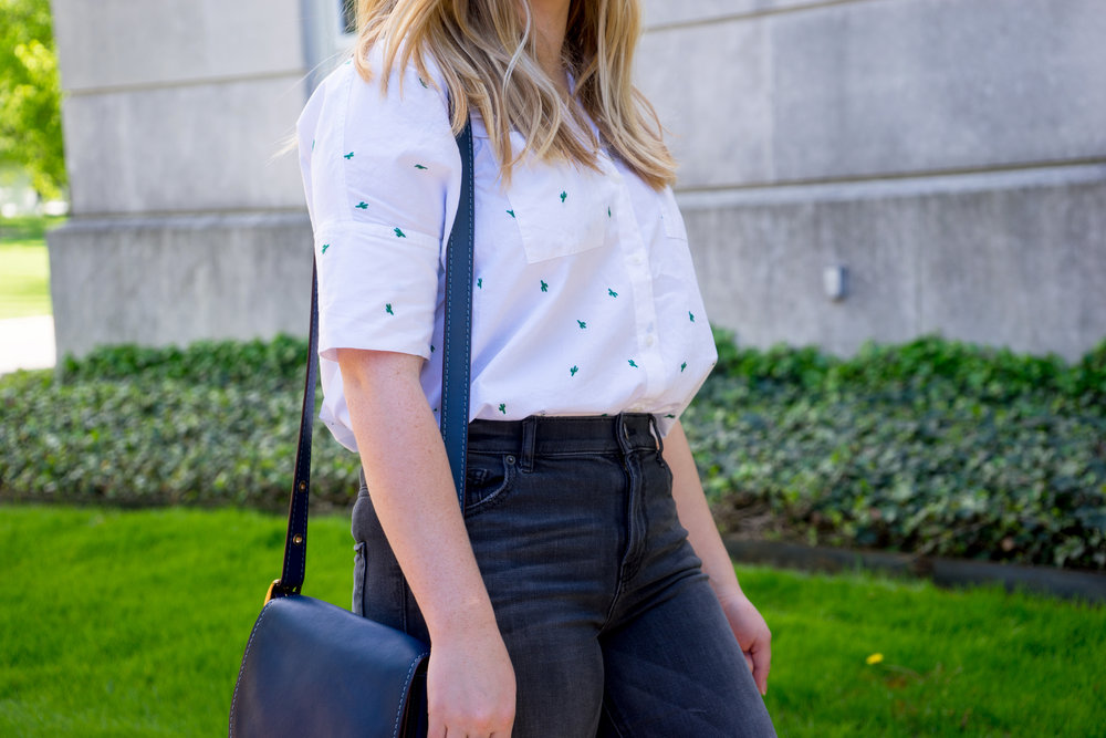 Maggie a la Mode - Madewell Cactus Embroidered Courier Shirt, Aquatalia Harlow Monk Strap Loafers, Coach Saddle 23 Saddlebag, Express Distressed High Waisted Release Hem Ankle Jean Legging