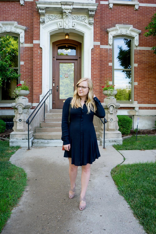 Maggie a la Mode - ALC Randi Flared Dress, Schutz Anamelia Leather Heels
