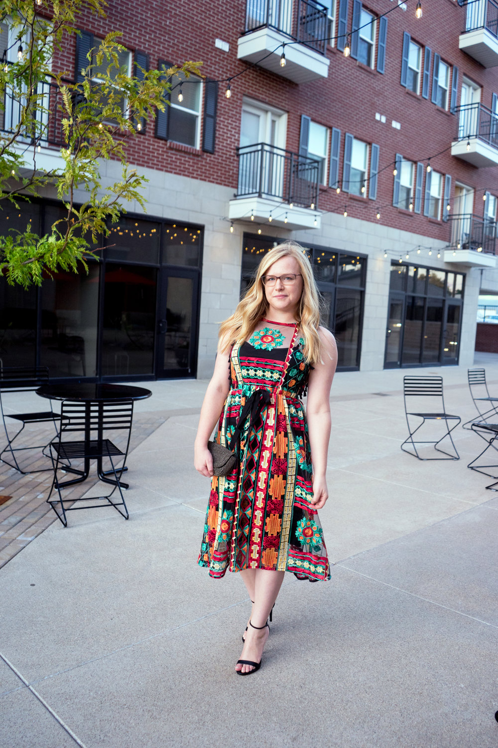 Maggie a la Mode - Anthropologie Eva Franco Saskia Embroidered Dress, Steve Madden Stecy Heels