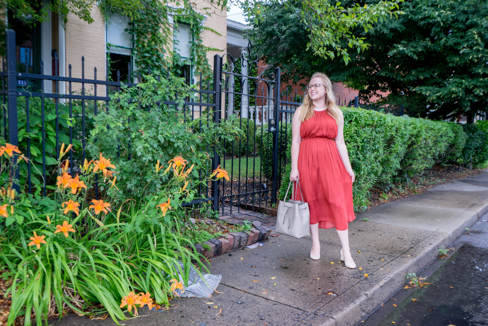 MAGGIE A LA MODE - ANTHROPOLOGIE DOLAN LEFT COAST COSTA MIDI DRESS, SEZANE PALERMO HEELS, TORY BURCH BLOCK-T BUCKET BAG