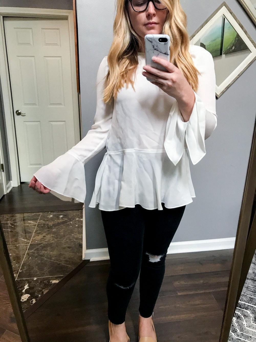 Maggie a la Mode - Theory Lexanda Bell Sleeve Peplum Blouse