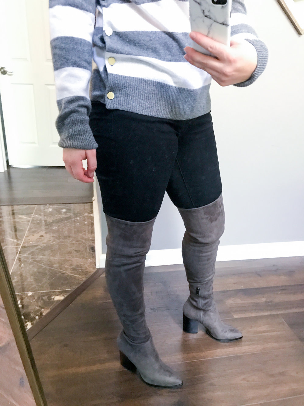 Maggie a la Mode - Equipment Jenny Stripe Cashmere Pullover, Marc Fisher LTD Arrine Over the Knee Boot
