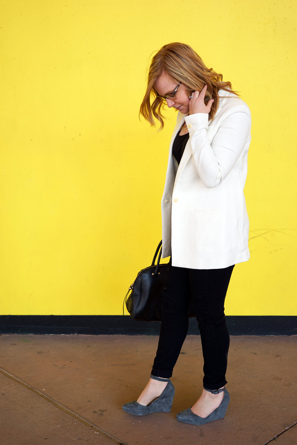 Maggie a la Mode - Via Spiga Nalo Ankle Strap Wedges, Banana Republic Boyfriend Blazer, Lou & Grey Layering Tank, Paige Black Distressed Jeans, Kate Spade Purse