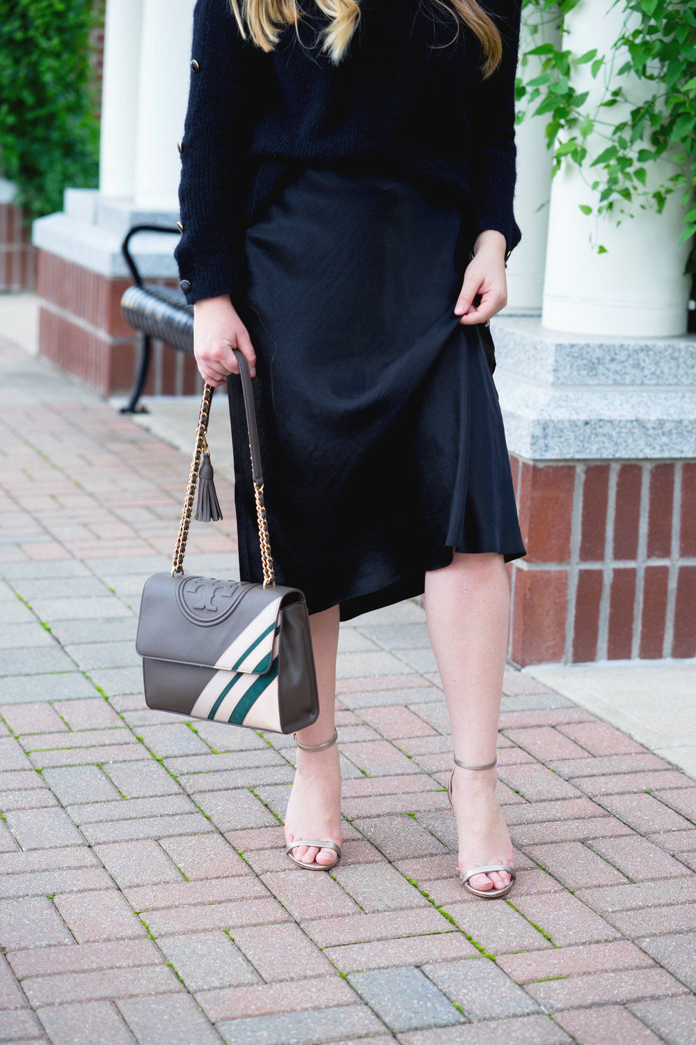 Maggie a la Mode - Vince Satin Skirt, Sezane Marcel Jumper, Tory Burch Fleming Stripe Convertible Shoulder Bag, Rachel Zoe GolD Strappy Heels, Warby Parker Aldridge Sunglasses