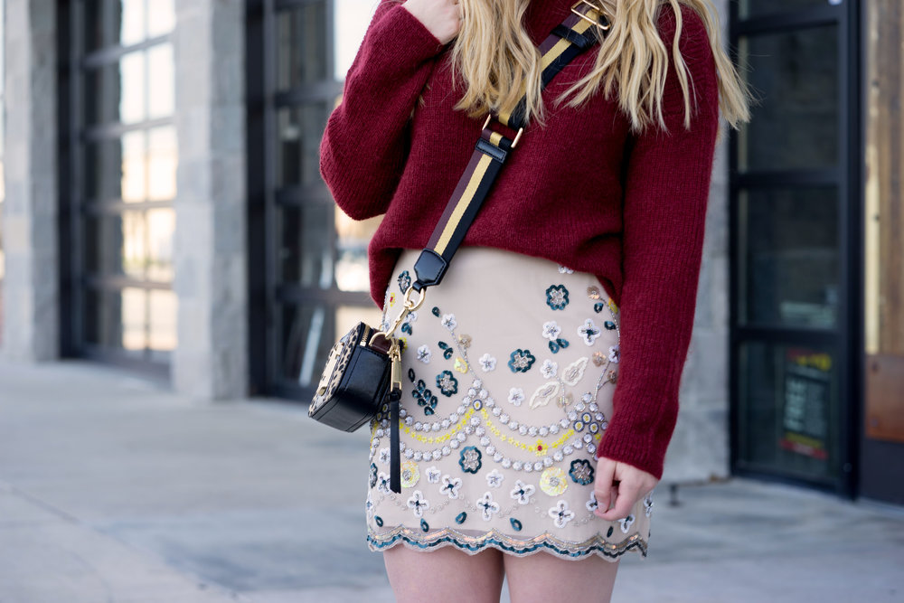 Maggie a la Mode - Club Monaco Monifa Embellished Sequin Skirt, Sezane Barry Jumper Sweater, Tabitha Simmons Petra heels, Marc Jacobs Snapshot Leopard Bag, Warby Parker Aldridge