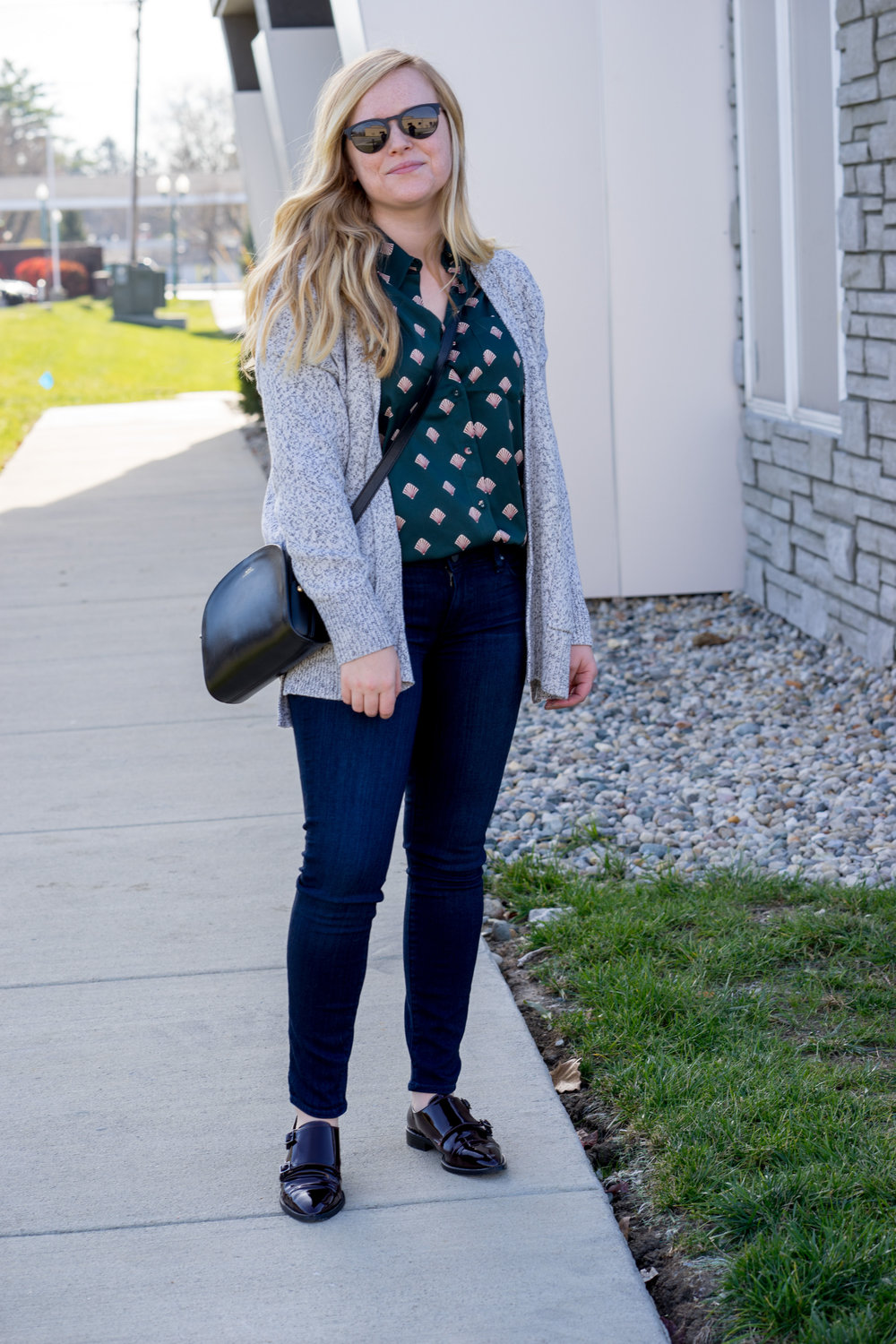 Maggie a la Mode - L'Academie The Classic Shell Print Shirt, Madewell Midland Cardigan Sweater, Paige Verdugo Transcend Ankle Jeans Mae, APC Half Moon Bag, Aquatalia Harlow Monk Strap Loafers