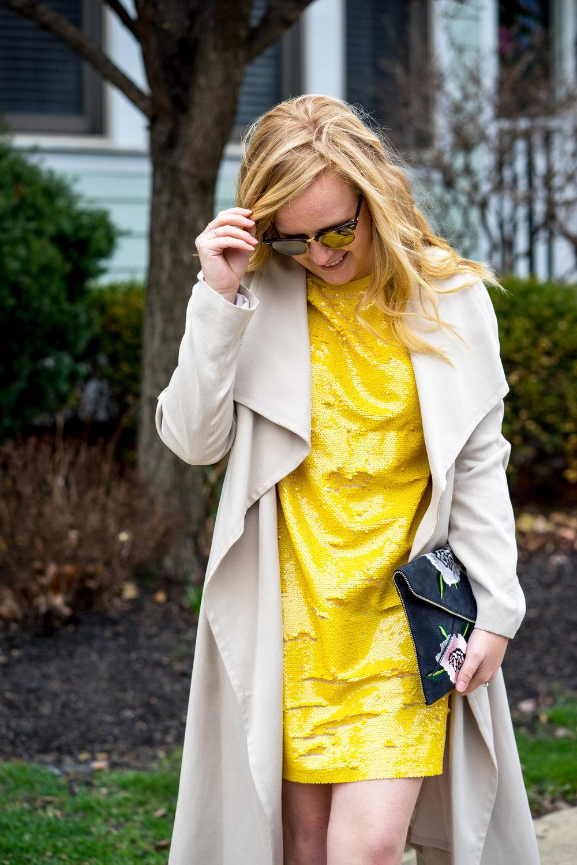 Maggie a la Mode - Be Bold Zara Yellow Sequin T Shirt Dress
