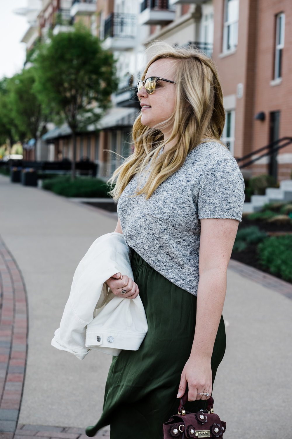 Maggie a la Mode - Everlane The Denim Jacket Review, Madewell Pocket Tee Sweater, Ann Taylor LOFT Fluid Pull on Skirt, ZAC Zac Posen Eartha Iconic Top Handle Mini Cordial Suede Crossbody Bag, Stuart Weitzman NearlyNude Sandals, Ray Ban Clubmaster Sunglasses