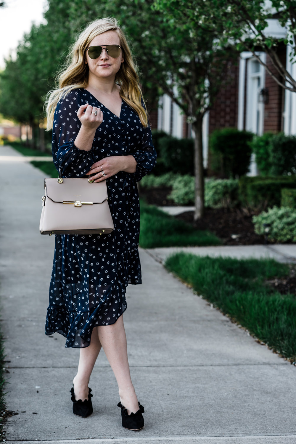 Maggie a la Mode - How to Wear Midi Dresses, Affordable Midi Dresses, Joie Alithea Dress, Loeffler Randall Langley Ruffle Mules, Le Specs The Prince Mirrored Sunglasses, Camelia Roma Leather Satchel