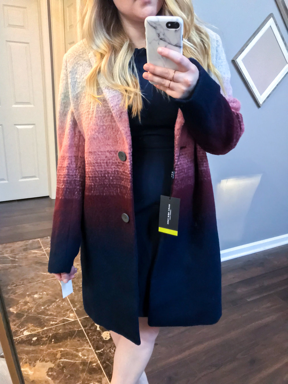 Maggie a la Mode Nordstrom Anniversary Sale 2018 Andrew Marc Ombre Two-Button Car Coat