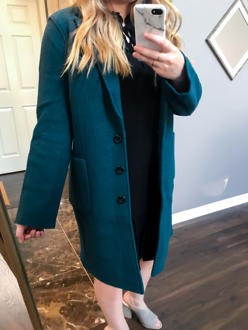 Maggie a la Mode Nordstrom Anniversary Sale 2018 J Crew Olga Boiled Wool Topcoat Winter Pine