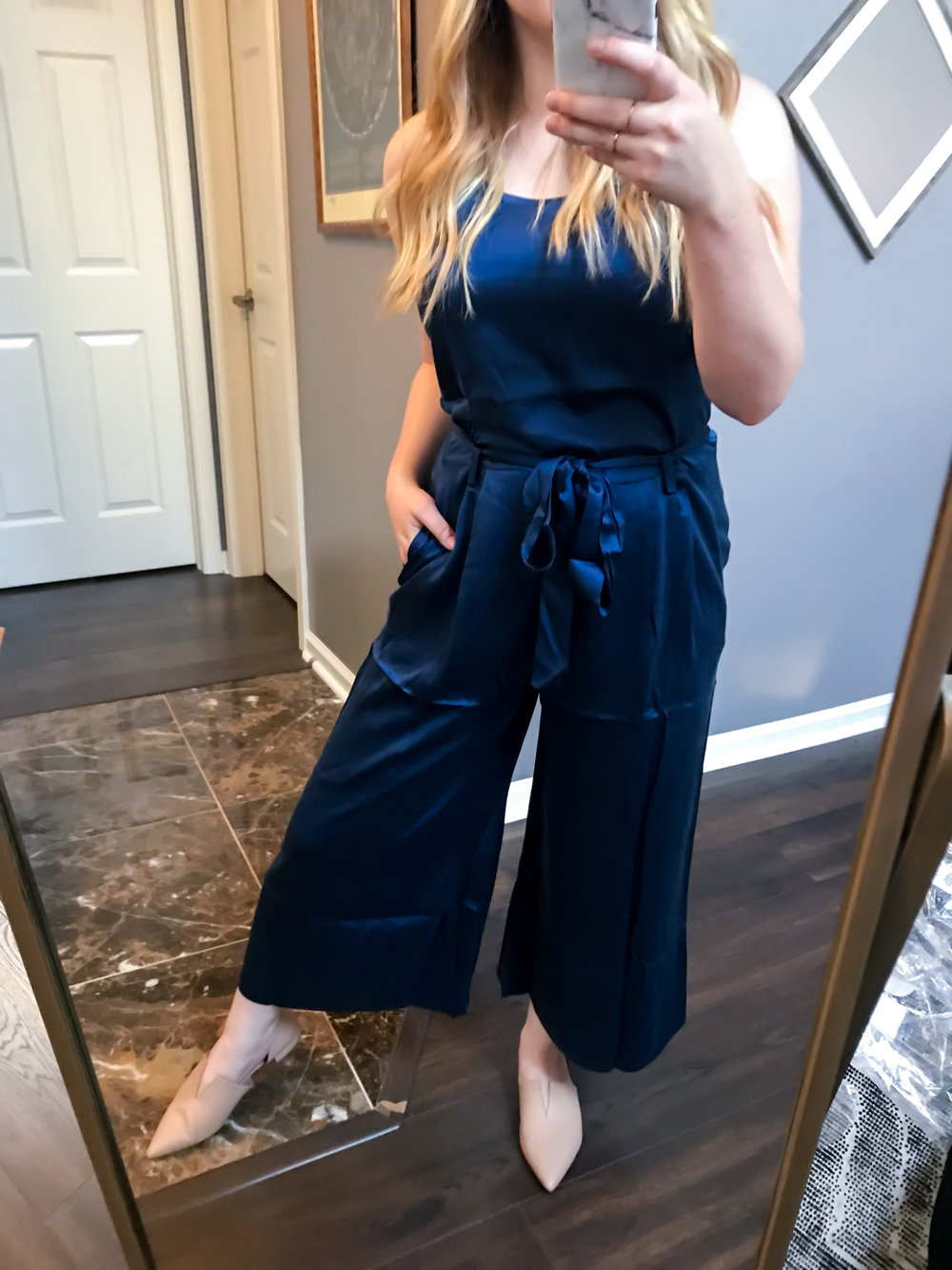 Maggie a la Mode Nordstrom Anniversary Sale 2018 Eileen Fisher Crop Silky Jumpsuit, Vince Darlington Flats