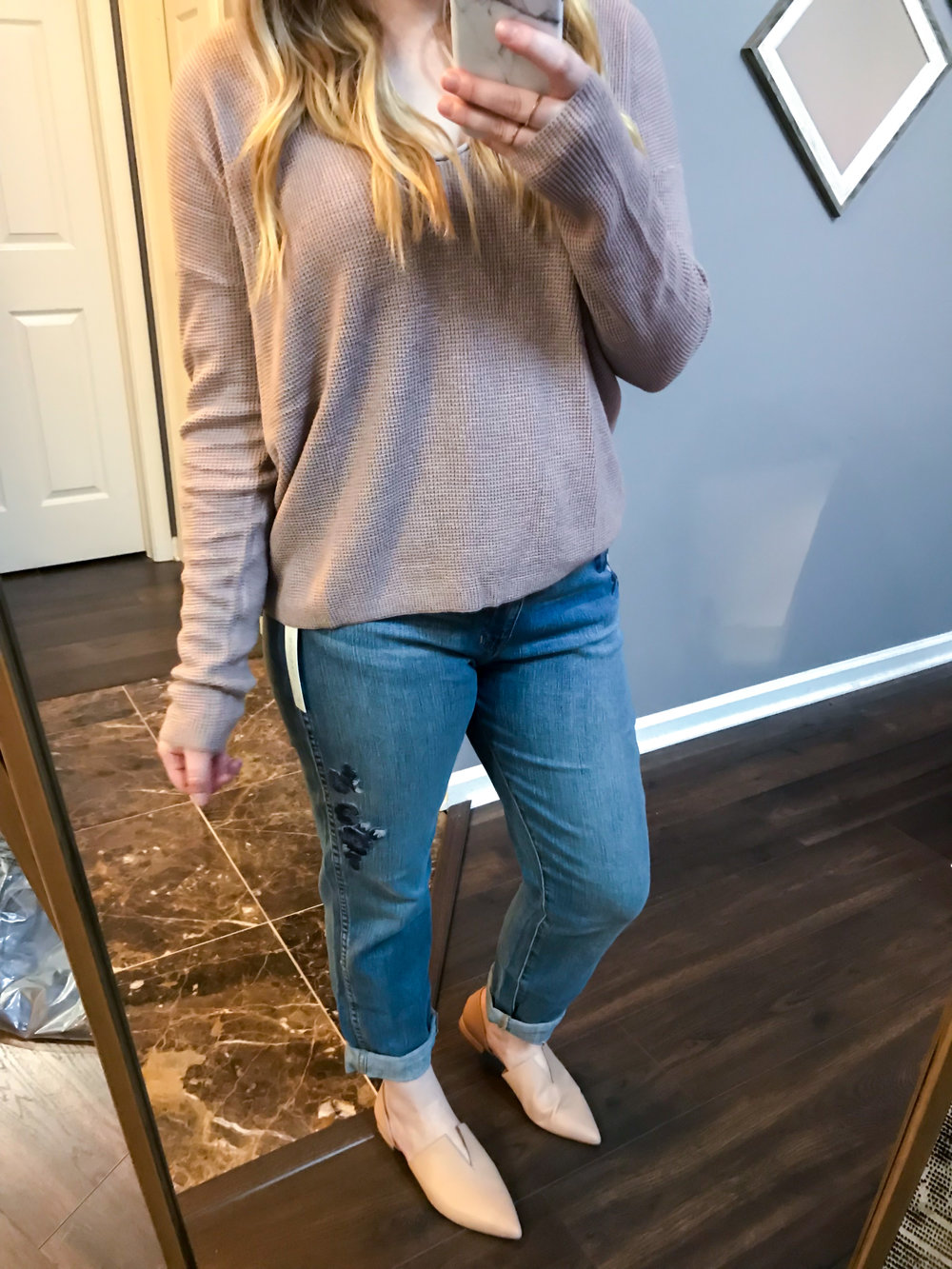 Maggie a la Mode Nordstrom Anniversary Sale 2018 BP. Textured Stitch V-Neck Pullover, Caslon Arden Embroidered Boyfriend Jeans, Vince Darlington Flats